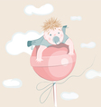 sweet little boy on the lollipop vector image
