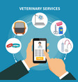 veterinary service flat composition vector image