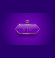 vip glass label with golden crown vector image vector image