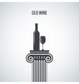 wine bottle glass classic design background vector image
