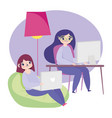 working remotely young women in desk and chair vector image vector image
