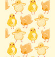 seamless pattern with cute hand-drawn chicken on a vector image