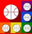 basketball ball sign set of vector image