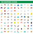 100 marine icons set cartoon style vector image