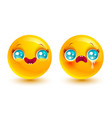 funny and sad emoji vector image