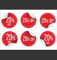 20 percent off red paper sale stickers vector image