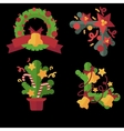 A set of Christmas design elements in flat style vector image
