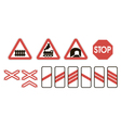 attention road signs warning railway vector image vector image