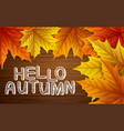 autumn leaves with lettering on wooden background vector image vector image