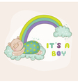 Baby Bear on a Rainbow - Baby Shower Card vector image vector image