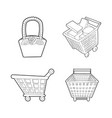 basket icon set outline style vector image