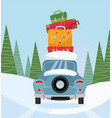 car back view with stack baggage on background vector image vector image