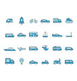 cars line icons transportation colored icons vector image vector image