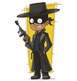 Cartoon bank robber in black mask vector image vector image