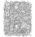 cartoon doodles tea cafe vector image vector image