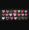 chalk drawn collection of grunge valentine hearts vector image vector image