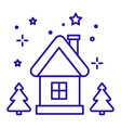 christmas house with fir trees on winter night vector image