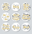 christmas new year golden gift round stickers vector image