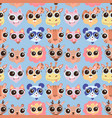 cute cartoon animals faces seamless pattern vector image