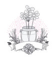 flowers in mason jar drawing design vector image