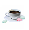 Fresh Coffee cup with macaroons dessert vector image vector image