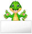funny crocodile cartoon with blank sign vector image vector image