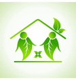 Green home icon on white background vector image