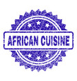 grunge african cuisine stamp seal vector image