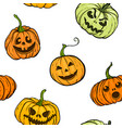 halloween pumpkin seamless pattern orange vector image