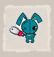 halloween stitch bunny rabbit zombie voodoo doll vector image vector image