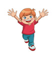 happy boy cartoon kid emotion smile image vector image vector image
