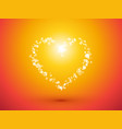heart of small dots on orange background vector image vector image