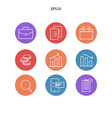 icon pack for management economi vector image