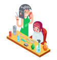 isometric children teenager hairdresser character vector image vector image