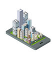 isometric city map navigations urban cartography vector image