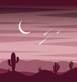 landscape sunset desert cactus sky moon and fall vector image vector image