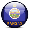 Map on flag button of USA Kansas State vector image vector image