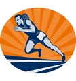 Marathon runner on track with sunburst vector image vector image