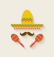 Mexican sombrero and maracas vector image vector image