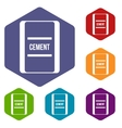 One bag of cement icons set vector image vector image