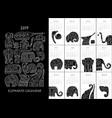 ornate elephants calendar 2019 vector image