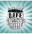 Phrase Life begins after coffee mug card vector image vector image