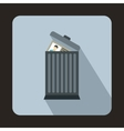 Resume thrown away in the trash can icon vector image