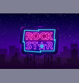 rock star neon sign design vector image vector image