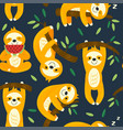Seamless pattern with funny sloths