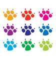 set of colorful dogs foot prints flat style vector image vector image