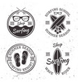 set of four vintage surfing emblems and badges vector image