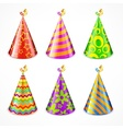 Set of party hats on white vector image vector image