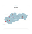 slovakia map with red pin vector image vector image