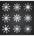 Snowflake icons on transparent background vector image